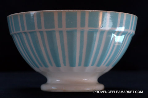 French blue stripped Digoin 9611 bowl cafe au lait-0