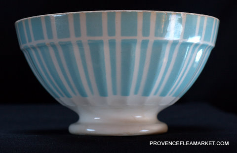 French blue stripped Digoin 9611 bowl cafe au lait-1