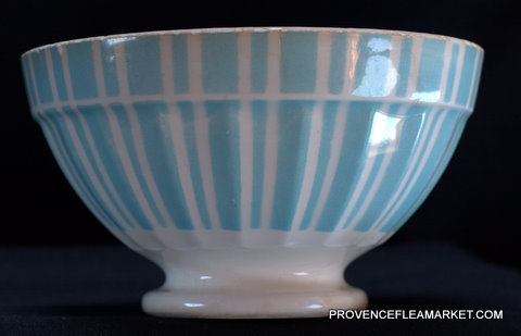 French blue stripped Digoin 9611 bowl cafe au lait-2