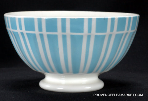 French vintage blue stripped Digoin bowl cafe au lait 1-0