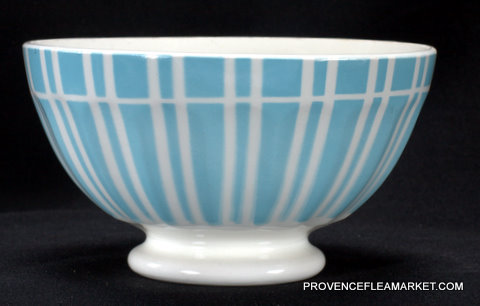 French vintage blue stripped Digoin bowl cafe au lait 1-1