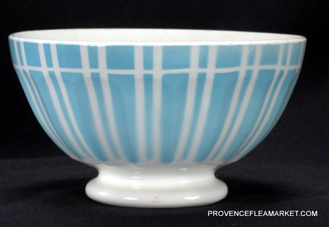 French vintage blue stripped Digoin bowl cafe au lait 1-2