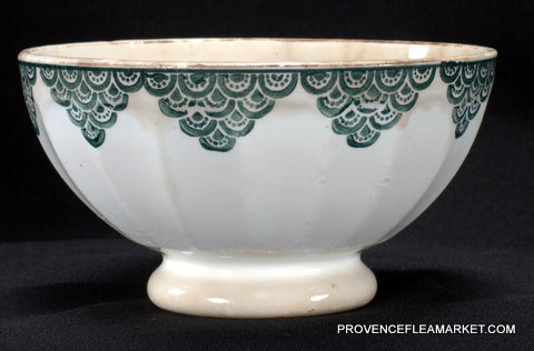 French vintage green trim bowl cafe au lait-1
