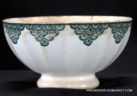 French vintage green trim bowl cafe au lait-2