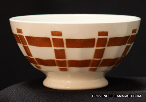 French vintage squarred brown bowl cafe au lait-1