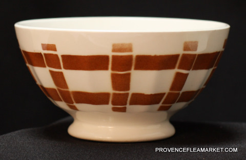 French vintage squarred brown bowl cafe au lait-2