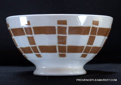 French vintage squarred dark brown bowl cafe au lait  1-0