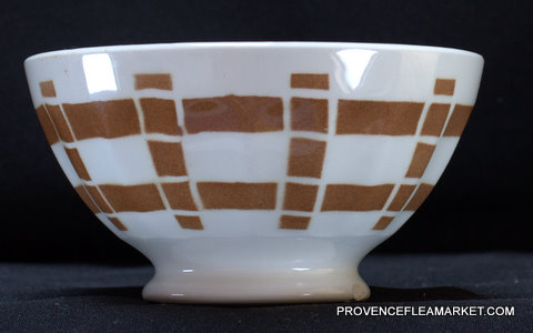 French vintage squarred dark brown bowl cafe au lait  1-2