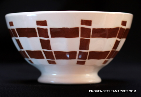 French vintage squarred dark brown bowl cafe au lait -0