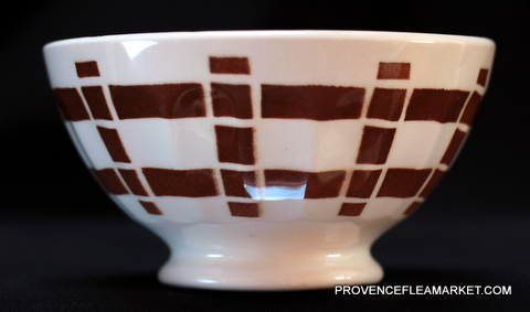 French vintage squarred dark brown bowl cafe au lait -2