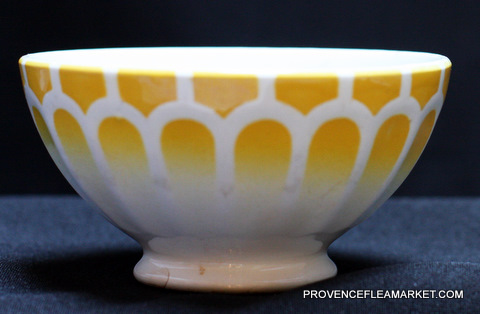 French vintage yellow  bowl cafe au lait -0