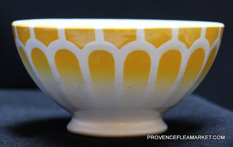 French vintage yellow  bowl cafe au lait -1