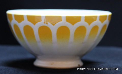 French vintage yellow  bowl cafe au lait -2