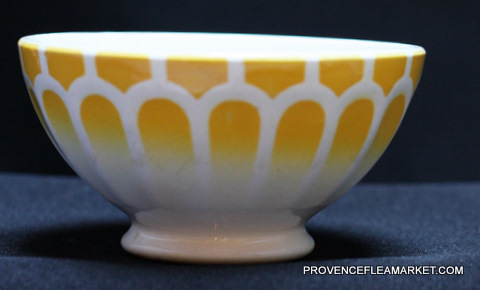 French vintage yellow  bowl cafe au lait -3