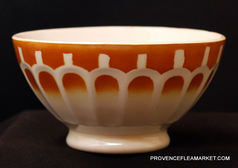 French vintage yellow orange bowl cafe au lait-0