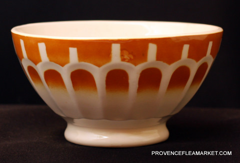 French vintage yellow orange bowl cafe au lait-1