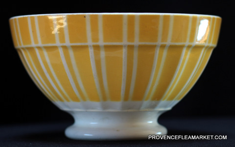 French vintage yellow stripped Digoin bowl cafe au lait -0