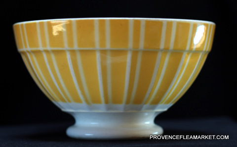 French vintage yellow stripped Digoin bowl cafe au lait -1