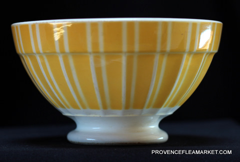 French vintage yellow stripped Digoin bowl cafe au lait -2