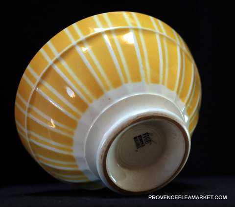French vintage yellow stripped Digoin bowl cafe au lait -4