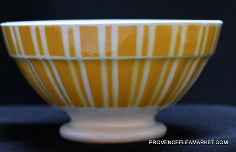 French vintageYellow geometrical Digoin bowl cafe au lait 9611 -0