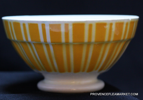 French vintageYellow geometrical Digoin bowl cafe au lait 9611 -1