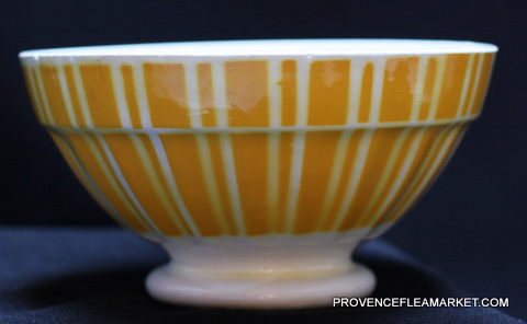 French vintageYellow geometrical Digoin bowl cafe au lait 9611 -2