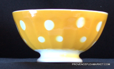 French yellow polka dots Digoin bowl cafe au lait-0