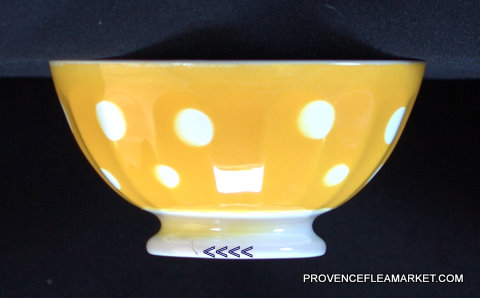 French yellow polka dots Digoin bowl cafe au lait-2