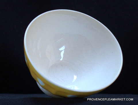 French yellow polka dots Digoin bowl cafe au lait-3