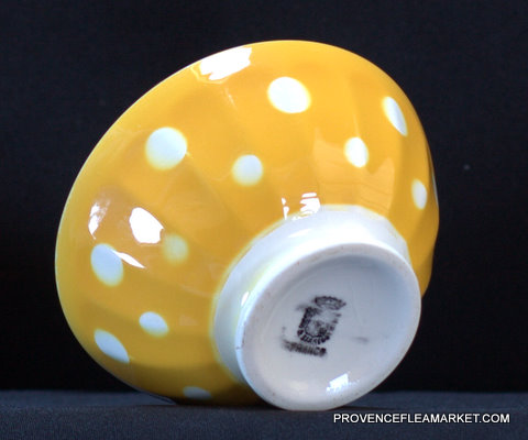 French yellow polka dots Digoin bowl cafe au lait-4
