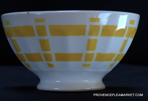 French yellow squarred vintage bowl cafe au lait-0