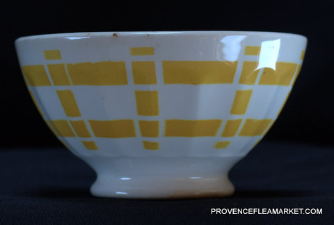 French yellow squarred vintage bowl cafe au lait-1