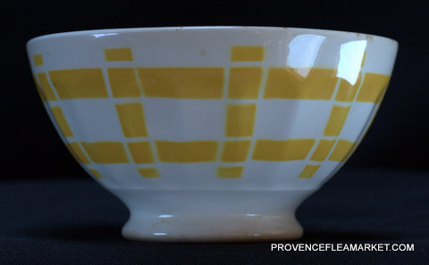 French yellow squarred vintage bowl cafe au lait-2
