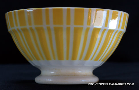 French yellow vintage Digoin bowl cafe au lait-0