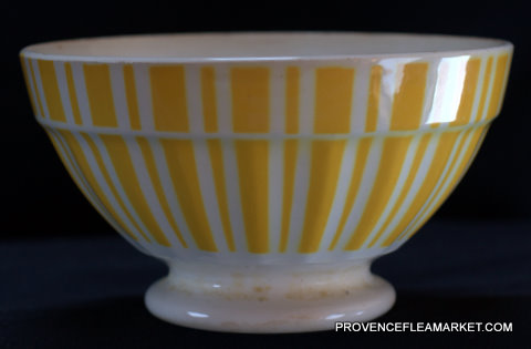 French yellow vintage Digoin bowl cafe au lait-1