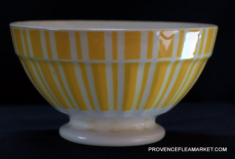 French yellow vintage Digoin bowl cafe au lait-2