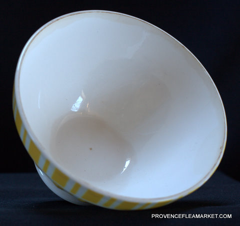 French yellow vintage Digoin bowl cafe au lait-3