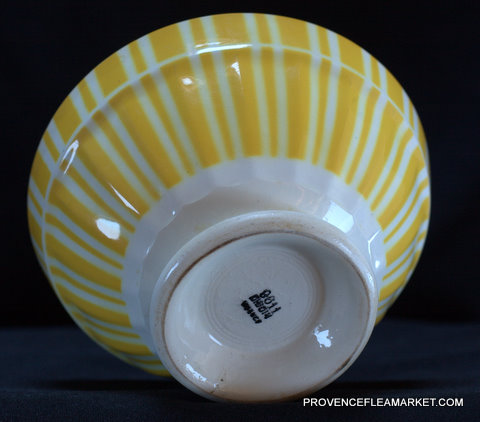 French yellow vintage Digoin bowl cafe au lait-4