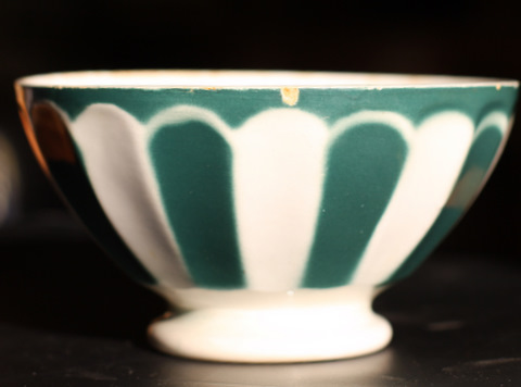 Green Sarreguemine bowl cafe au lait-0