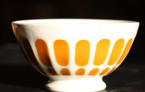 Yellow  Sarreguemine bowl cafe au lait-0