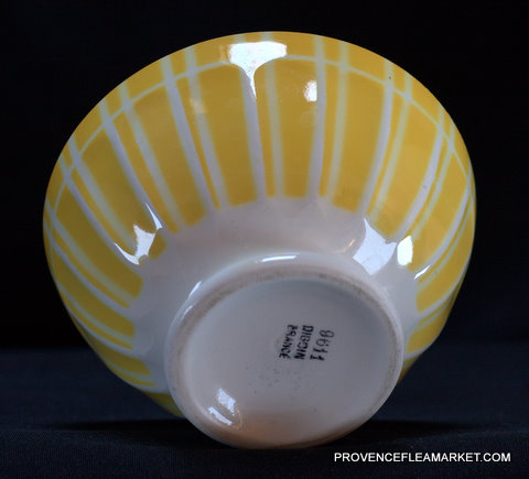Yellow geometrical Digoin bowl cafe au lait 9611 1-4