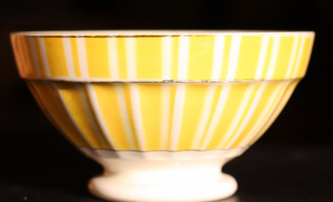 Yellow geometrical Digoin bowl cafe au lait 9611-1