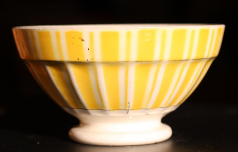 Yellow geometrical Digoin bowl cafe au lait 9611-2