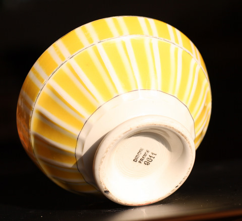 Yellow geometrical Digoin bowl cafe au lait 9611-4
