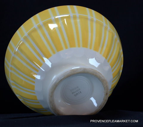 Yellow vintage  geometrical Digoin bowl cafe au lait 9611 -3