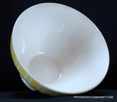 Yellow vintage  geometrical Digoin bowl cafe au lait 9611 -4