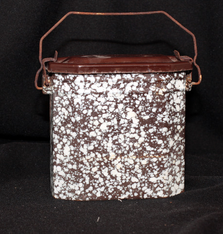 French brown enamelware graniteware lunch box 1-0
