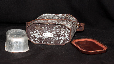 French brown enamelware graniteware lunch box 1-3