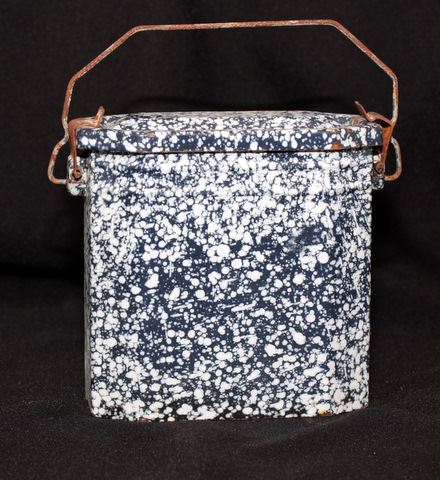 French dark blue enamelware graniteware lunch box-0